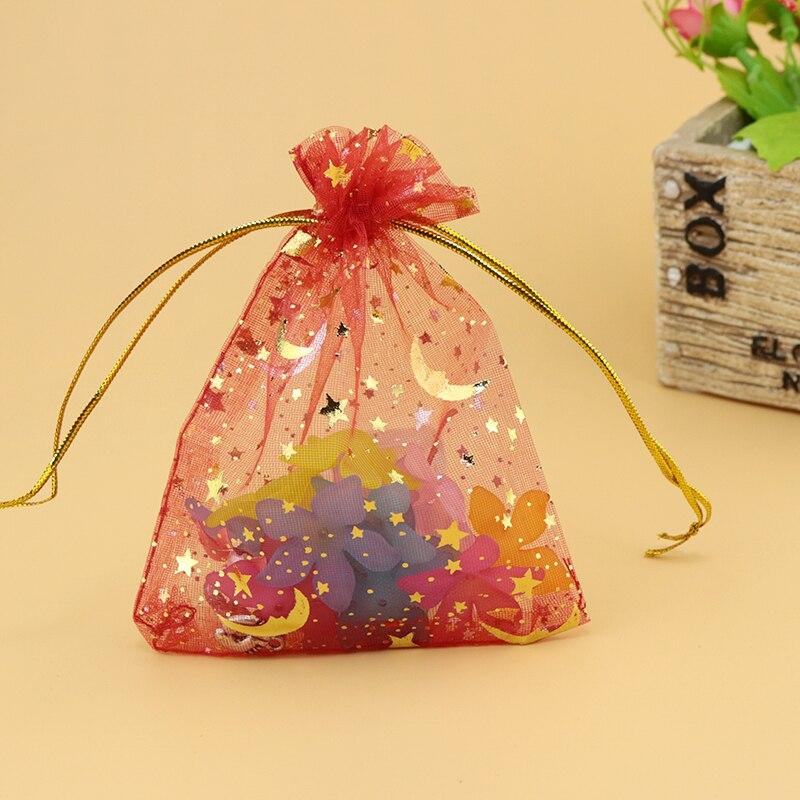 489d64d56 100 unids/lote 9x12 cm rojo Moon Star organza Bolsas boda favor pequeño  embalaje de la joyería del caramelo agradable regalo Bolsas de tela