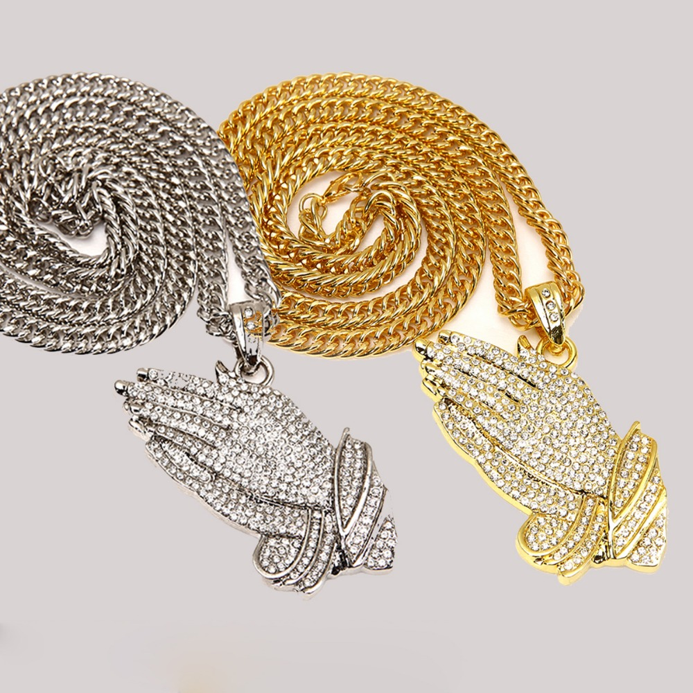 Hip Hop Style Big Pendant Gold Silver Plated Crystal CZ Iced Out Praying Hands Charm Pendant Necklace Pray Hands Jewelry fashionable foot style gold plated crystal inlaid necklace golden