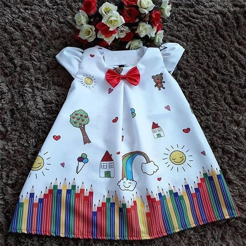 1-5T Pretty Toddler Kids  Baby Girl Dress Cartoon Floral Tutu Party Princess Dress Cute Style Summer Sundress Girls Clothes