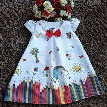 1-5T Pretty Toddler Kids Baby Girl Dress Cartoon Floral Tutu Party Princess Dress Cute Style Summer Sundress Girls Clothes(China)