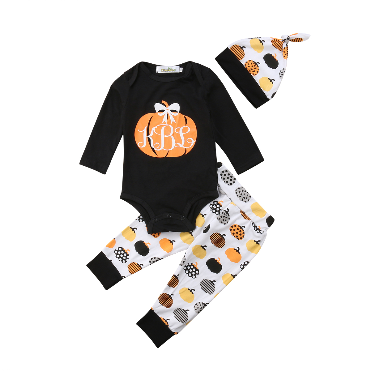 2018 Latest Childrens Wear Newborn Infant Baby Boy Girl Cotton Toddler Pumpkin Tops Bodysuit Pants Halloween Outfits Clothes