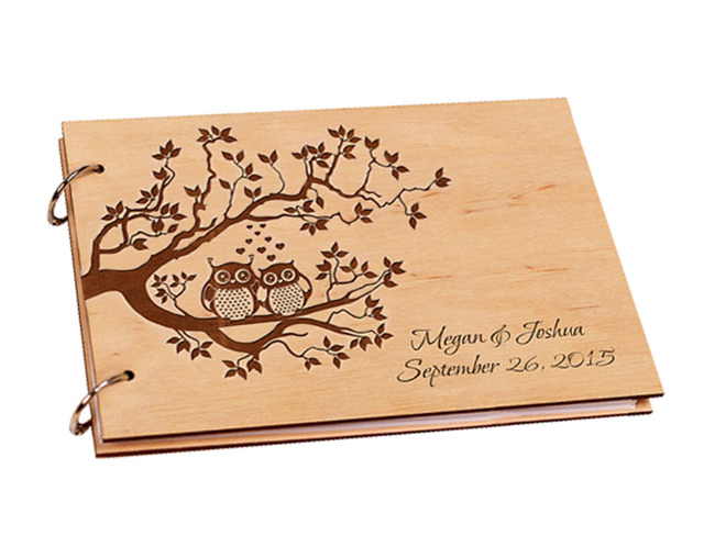 2017 Custom Wood Wedding Guest Book Present Anniversary Gift Tree Pattern Bridal Shower