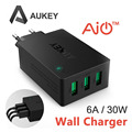 Aukey 30 W/6A Cargador de Pared Adaptador de Viaje USB con Tecnología AlPower (Enchufe plegable con 3 Puertos) para iphone 6 s/6 s plus galaxy s6
