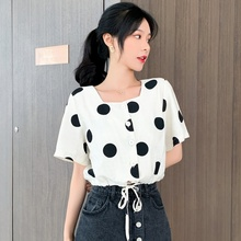 Women's Shirt Short Sleeve 2019 Summer Vintage Women Blouse Polka Dot Drawstring Chiffon Shirt Top Blusas