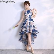Party-Dresses Long-Back Short Evening-Dress Robe-De-Soiree Elegant Scoop Front Lace Vestido-De-Festa
