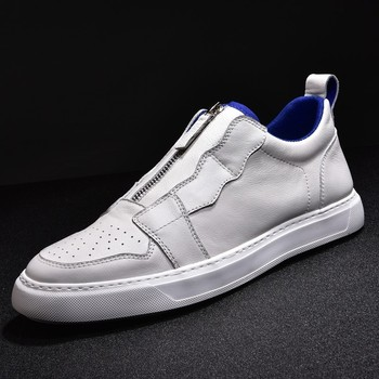 Designer Casual Genuine Leather Shoe Men Zipper Flats Sneakers White 2019 New Mens Shoes Tenis Masculino Breathable Trainers