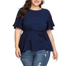Summer 5XL Plus Size Women Blouses Solid Color Belted Knot Short Sleeve Casual Round Neck Tops