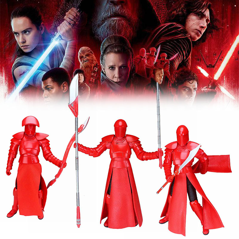 3pcs Star Wars 8 The Last Jedi Black Series Elite Praetorian Guard Weapon Long Dual Blade 6 Action Figure Movies Kids Gift Toys dark journey star wars the new jedi order