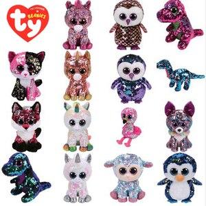 Image 1 - Ty плюшевый игрушка в виде животного с блестками, мягкая плюшевая игрушка, кота, совы, лисы и зайца Единорог Фламинго овец Дракон Собака игрушечные Пингвины 15 см