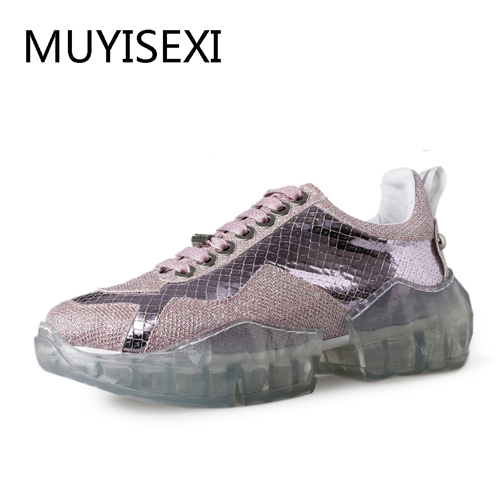 Glittering Pink Silver Flat Platform Leisure Sports Sneakers Casual Genuine Leather Women Shoes Drop Shipping HB05 MUYISEXI