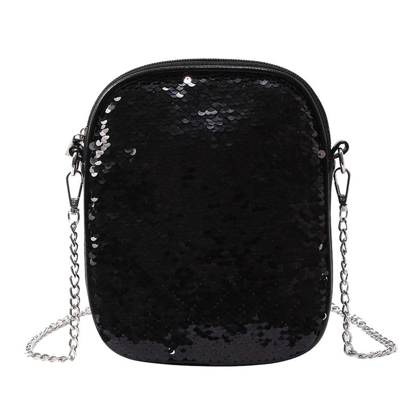 2018 Hot Sale Crossbody Bags Fashion Women Sequins Leather Hit Color Crossbody Bag Lady Shoulder Bag Phone Bags bolsa feminina T
