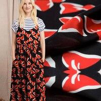 Summer fashion Ma Su card red bow silk fabric silk satin printing beautiful dress crepe fabric