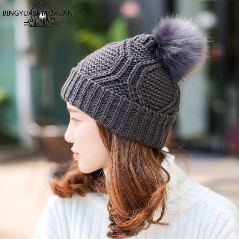 BINGYUANHAOXUAN 2017 Female Winter Hat Knitted Hats for Wmen Beanie ...