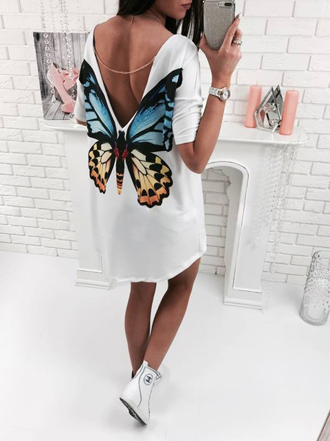 Butterfly Casual V neck mini women t shirt dress bohe chifon dress women's summer casual dresses 2017women summer beach dress