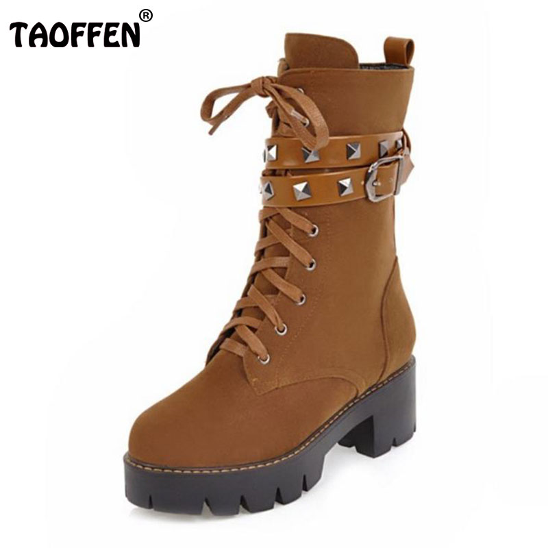 TAOFFEN Size 33-42 Women High Heel Half Short Boots Rivet Winter Shoes Women With Fur Snow Boot Warm Botas Woman Footwears women high heel half short boots thickened fur warm winter plush mid calf snow boot woman botas footwear shoes p21994 size 34 39