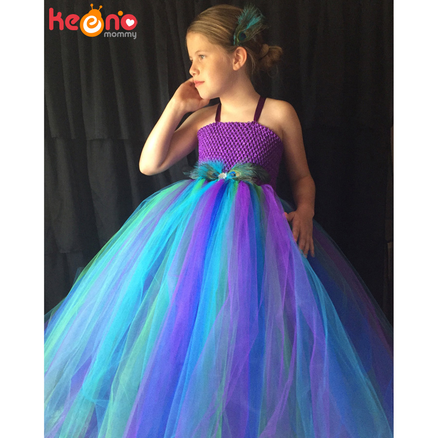 Peacock Flower Girl Tutu Dress Turquoise and Purple Tulle Wedding Dress Kids Purim Party Ball Gown Elegant Princess Prom Dress (12)