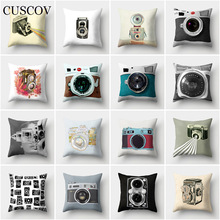 CUSCOV camera polyester sofa cushion cover creative wedding decoration household pillow case bedding comfort seat