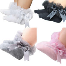 Infant Newborn Sock Toddler Baby Girls Kids Princess Bowknot Lace Floral Short Socks Cotton Ruffle Frilly Trim Ankle Socks