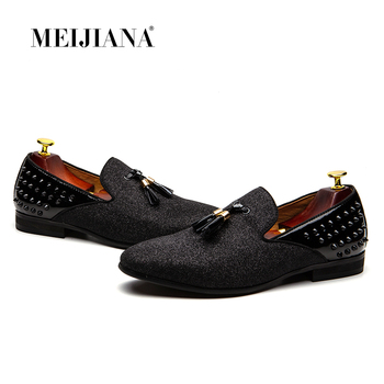 MEIJIANA Men Loafer Men Tassel Metal Handmade Party Loafers Wedding Dress Shoes Night Club Shoes