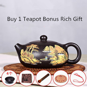 Free Shipping 200ML Yixing Purple Clay teapot famous pure handmade teapot Xi shi Color Painted Tea Pot Afternoon Teaware