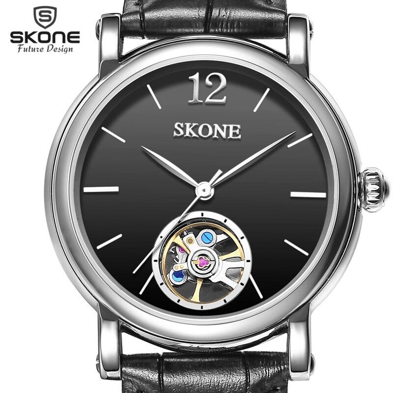 SKONE Genuine Leather Strap Automatic Mechanical Watches Men Luxury Brand Wrist Watch SelfWind Watch relogio masculino New все цены