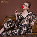 New Design Luxury Dragon Printed Silk Gown Robe Set Autumn Women Long Sleeve Pajamas 3pcs Sets Braces Sleepwear Noble nightgowns