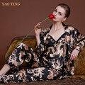 Nuevo Diseño de Lujo Del Dragón Impreso Seda vestido Conjunto Bata de Otoño Mujer de Manga Larga Pijamas 3 unids Establece Tirantes Ropa de Dormir Noble camisones