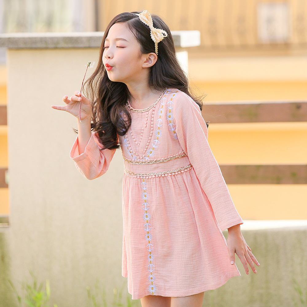 3c2c3c3c Floral Teenage New Fashion Long Sleeve Pink Dress Kids Cotton Linen  Embroidery Toddler Girls Dress 2018