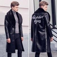 Fanzhuan Бесплатная доставка Новый 2017 Мужской Мужская Человек мода зимние меховые вышивка мужские пальто длинные сапоги выше колена с лацканам