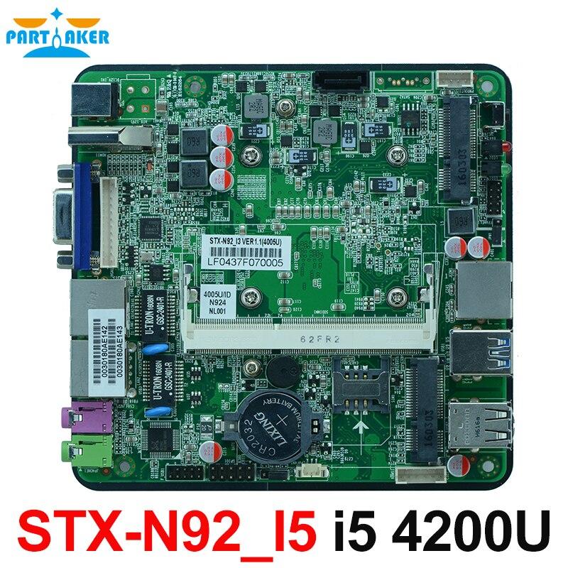 Fanless Dual Gigabit Ethernet Nano Motherboard With Intel Haswell-U i5 4200U i5 4210Y CPU цена