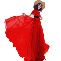 Sommerkleid Frauen Koreanischen Damen 2018 Rot Kurzarm Chiffon Lange Kleider Böhmischen Strandkleid Mode Vestido ZL029