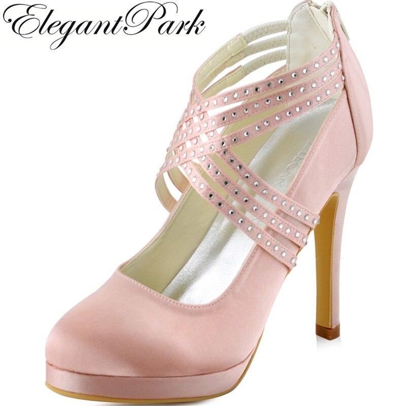 Elegantpark Women High Heel Pumps Rhinestones Zip Platform Satin Bridesmaids Bride Lady Evening Prom Wedding Shoes Green Pink Mint EP11085