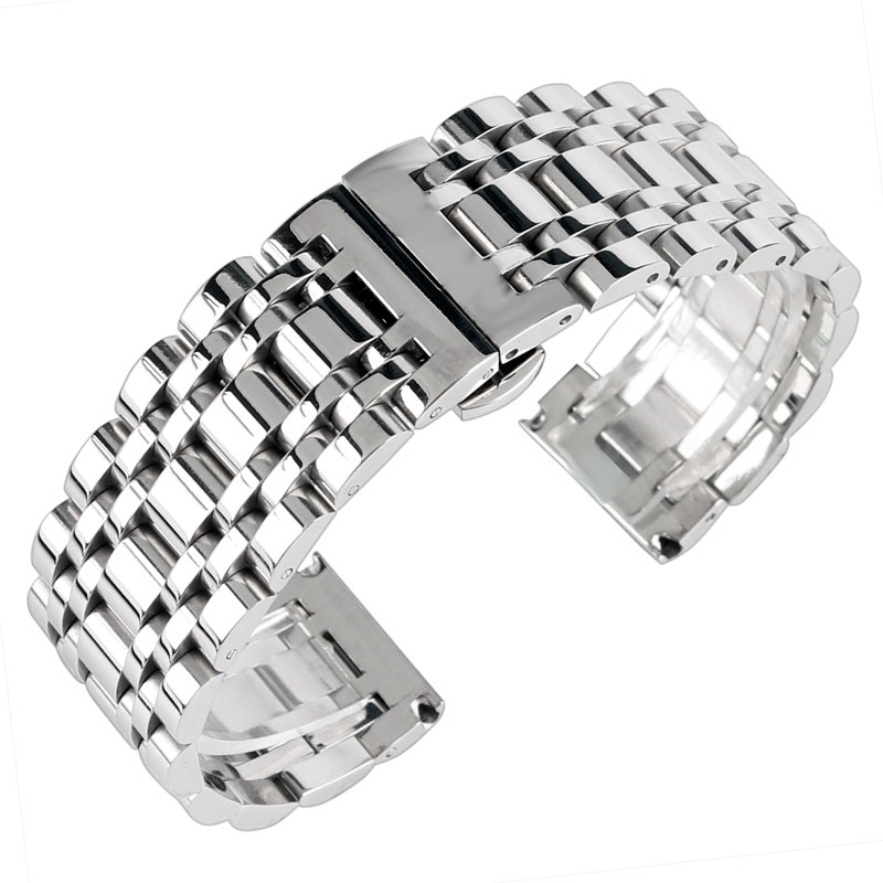 high quality 20 22 24mm stainless steel mesh men solid link pin buckle replacement silver wrist band strap bracelet 20/22/24mm Replacement Women Men Watch Band Wrist Strap Stainless Steel Bracelet High Quality Silver Adjustable + 2 Spring Bars