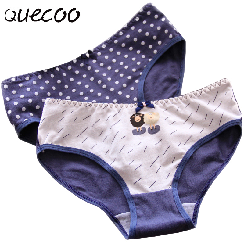 QUECOO 5pcs/lots Combination set lovely sexy navy blue sheep printed underwear cotton comfortable womens underwear panties #171