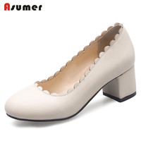 ASUMER Solid Shallow Women Shoes High Heels Office Lady Work Shoes Pumps Big Size 32 46