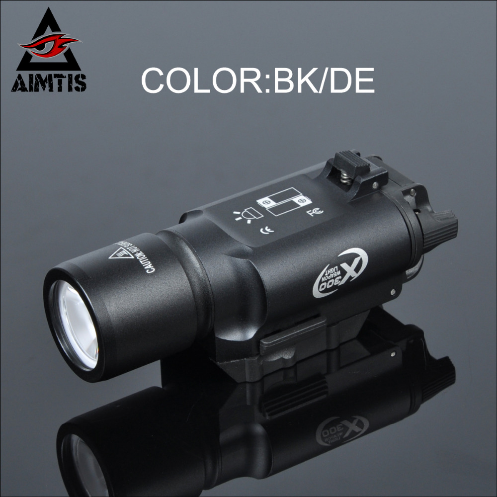 AIMTIS X300 Airsoft Weapon Light Tactical Led Flashlight for pistola Surfire Military Weapons Constant / Momentary White Output greenbase sf tactical m300v ir scout light weaponlight white and led ir flashlight constant momentary output 20mm rail