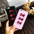 Corea del sur moda cute girls bowknot phone case para iphone 6 plus 6 s más 6 6 s contraportada pu cinta corbata envío libre