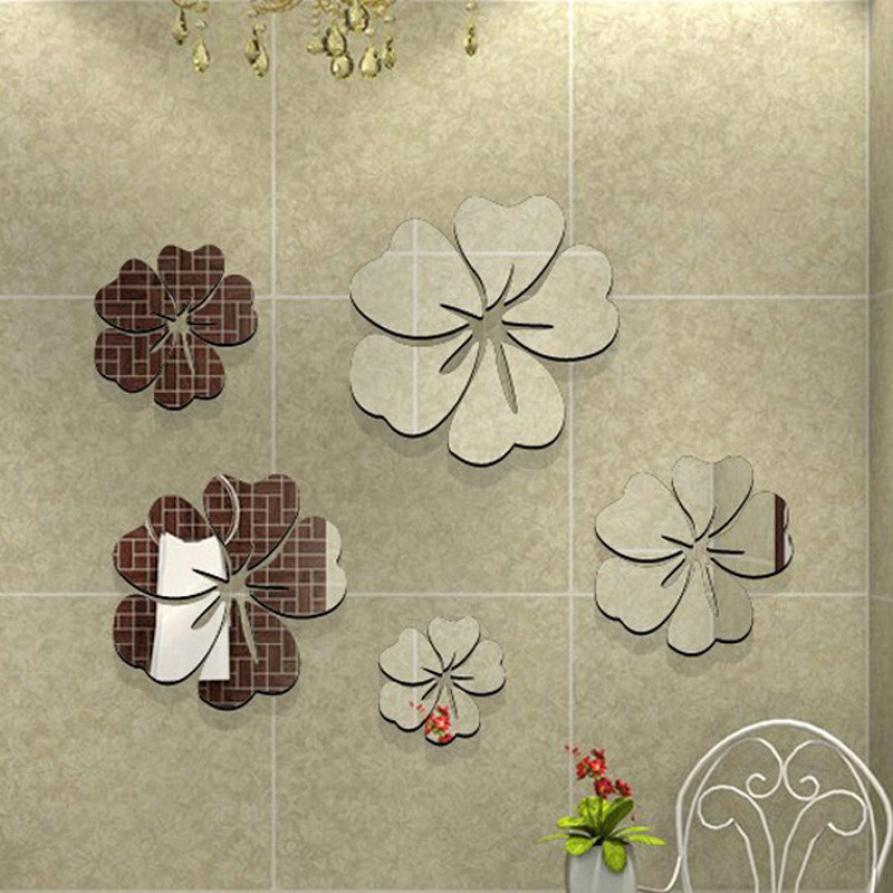compare prices on ceiling decorations diy online shopping buy low 2017 diy 3d mirror wall stickers nice decoration 5 flowers sticker decor for living room bedroom