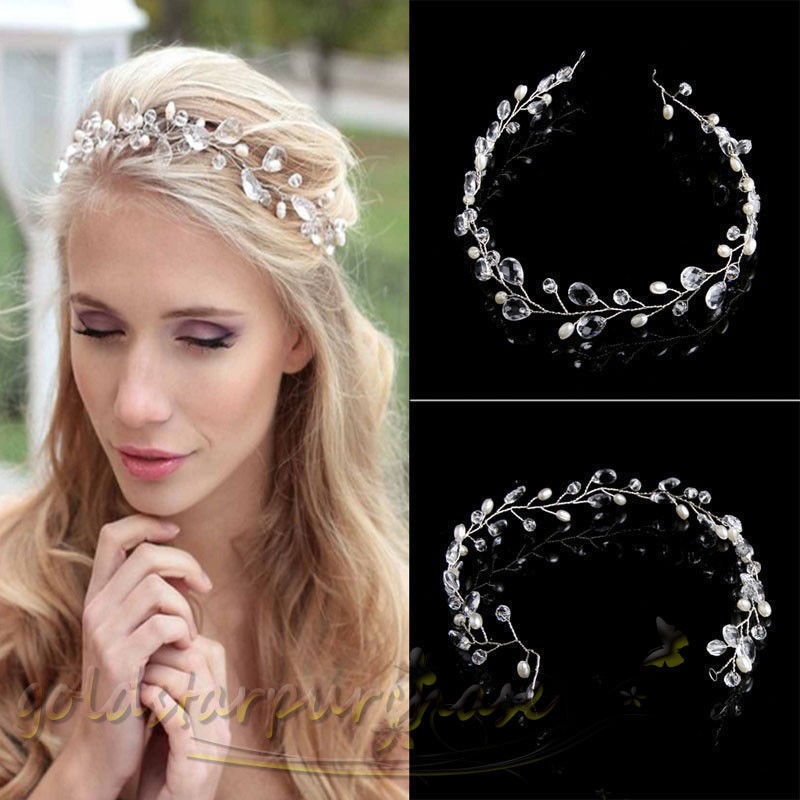 Pearls Wedding Hair Vine Crystal Bridal Accessories Diamante Headpiece