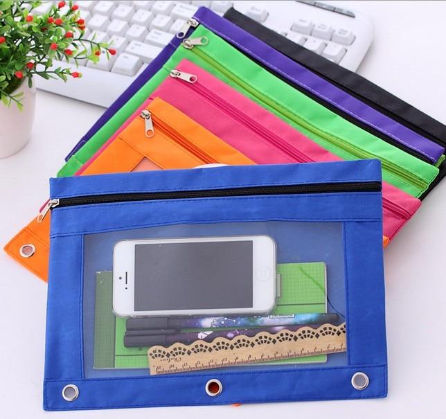 3-Ring Binder Canvas Pencil Case Storage Pouch Pink