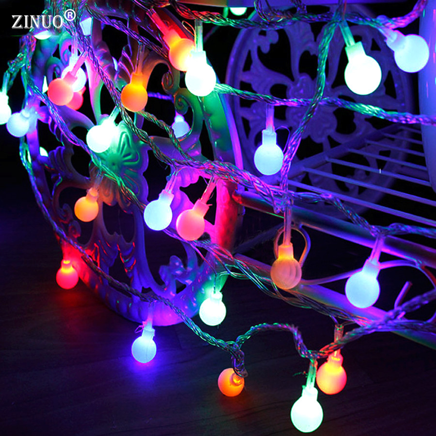 ZINUOb 3M 4M 5M Ball Christmas String lights Outdoor AA Battery Powered Fairy String Light Holiday Wedding Decoration lighting