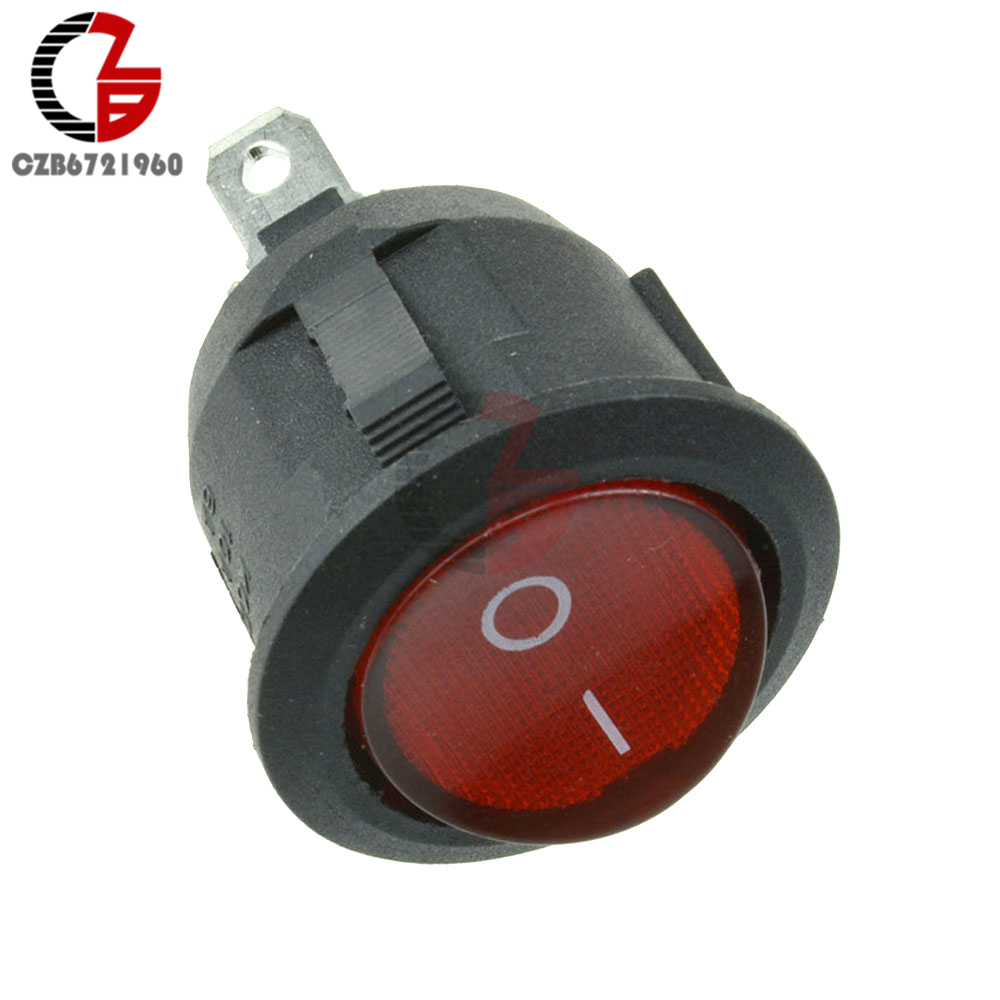 10pcs Mini 3pin Round Push Button Switch On Off Spdt Rocker Red Dpdt Double Pole Throw With Light 10 X 3 Pin Snap In