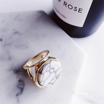 Boho Style Marble Rings Jewelry Rings Women Jewelry Main Stone Color: Round