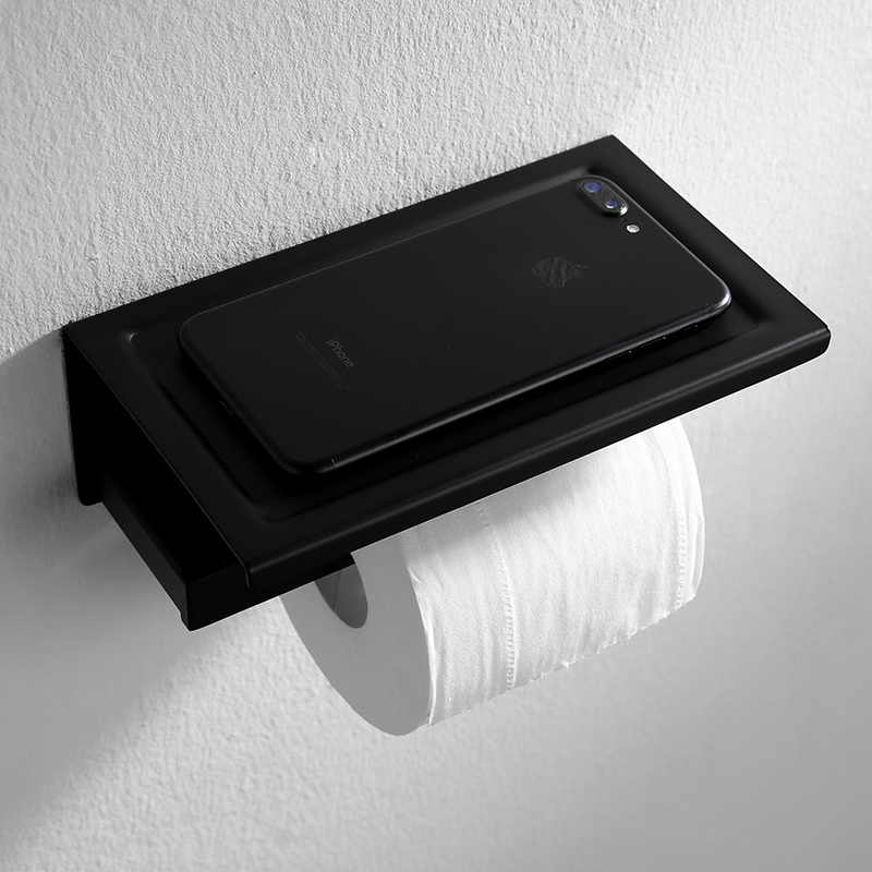 Black 304 stainless steel Toilet paper holder with phone holder Square base paper box wall mount bathroom accessories set
