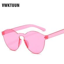 VWKTUUN Rimless Sunglasses Women Men Intergrated Glasses Brand Designer Candy Color Sunglass Pink Clear Sun