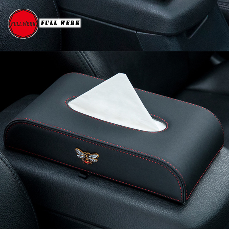 High Quality Leather Car Armrest Tissue Box Holder Creative Block Tissue Napkin Paper Towel Holder Case Car Dashboard Organizer