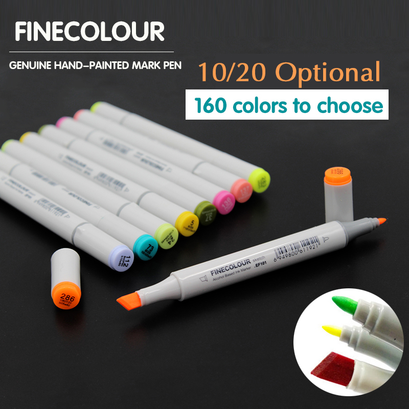 Finecolour 10/20 Colors Alcohol Based Markers Pen Double Headed Sketch Marker Paint Sketch Art Drawing Students Art Markers Pen dainayw 12 colors sketch skin tones marker pen artist double headed alcohol based manga art markers for school supplies