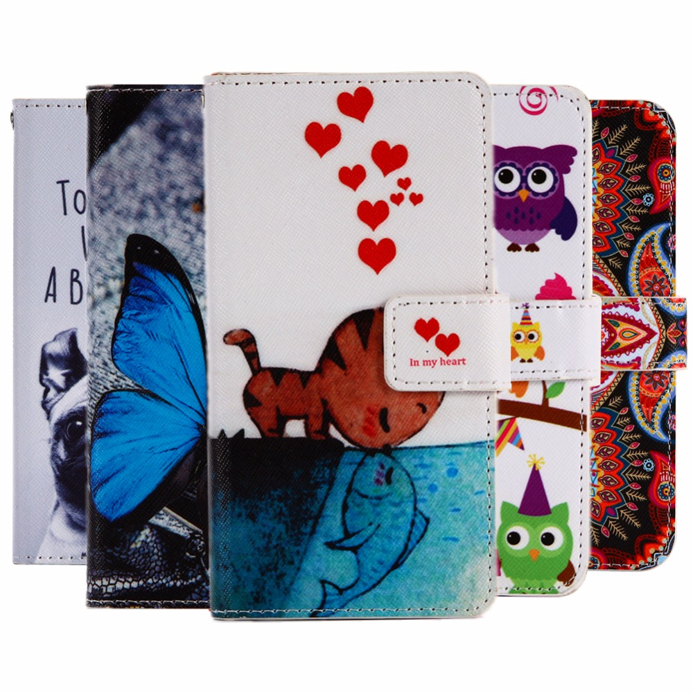 GUCOON Cartoon Wallet Case for Fly IQ4416 Era Life 5 4.5 Fashion PU Leather Lovely Cool Cover Cellphone Bag Shield