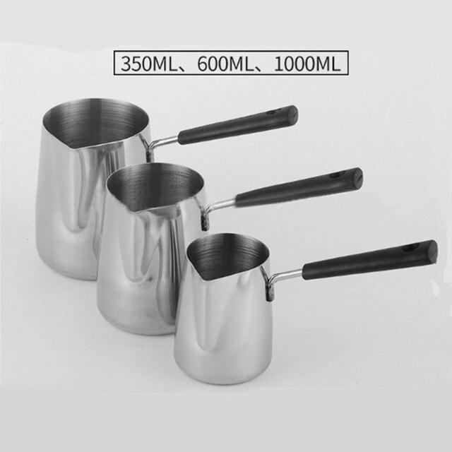 Bakalit Kolu Balmumu erime tavası DIY Mum Sabun Erir Pot Kokulu Balmumu Erir Metal Kahve Toroid Sürahi Latte Süt Frothing Sürahi