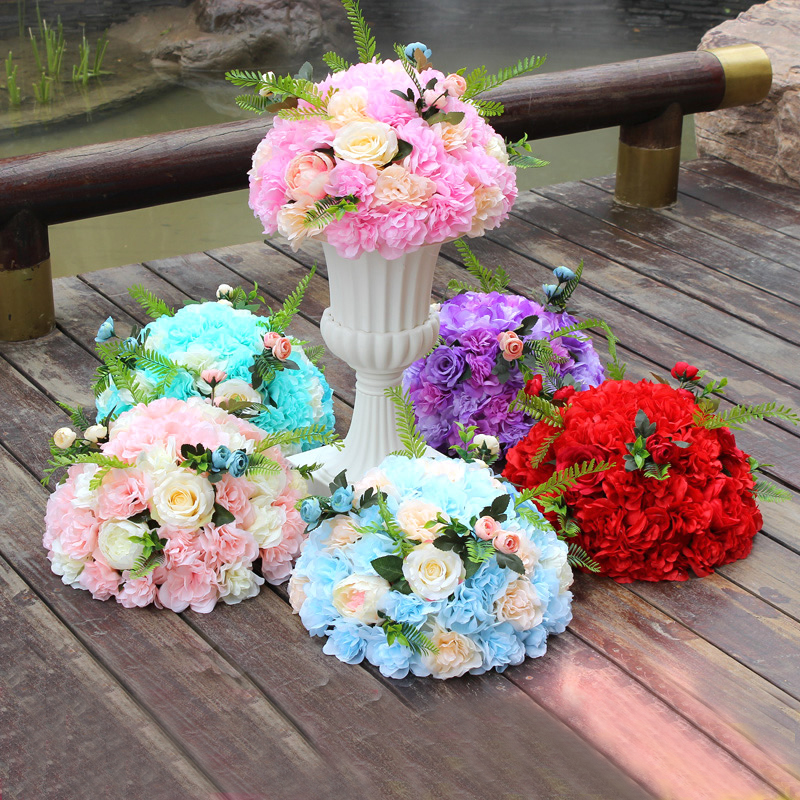 Customized New Green Plant Artificial Flower Ball DIY Wedding Road Lead Flower Roman Column Flower with Flower Pot Stage Layout
